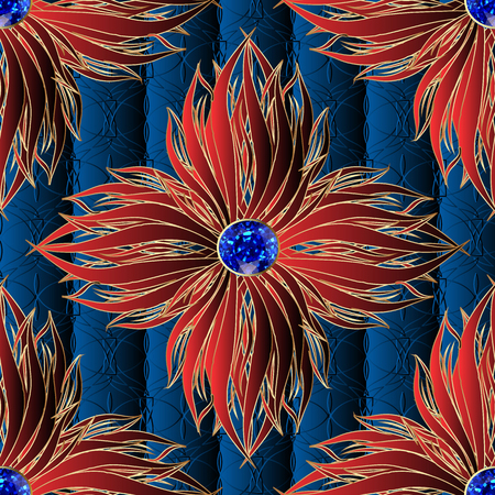 3d red flowers jewelry vector seamless pattern. Textured ornamental dark blue floral background. Elegance ornament with surface beautiful flowers and sapphires. Repeat flourish gem stones backdrop.