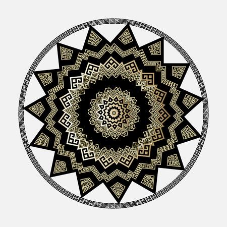 Greek round vector mandala pattern. White background. Round greek key meanders isolated ornament.  Geometric ethnic tribal style decorative design. Gold black zigzag shapes, rhombus, lines, circles Vettoriali