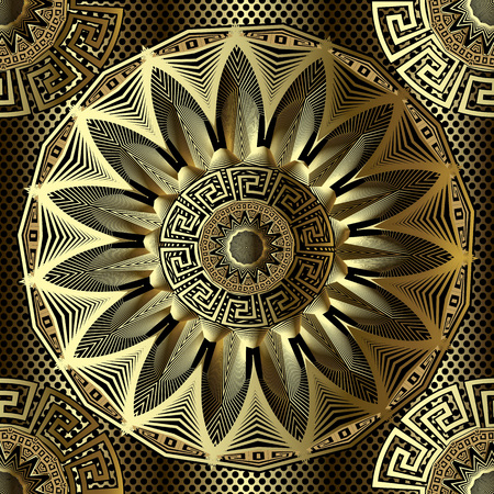 Gold 3d floral greek vector seamless mandala pattern. Geometric lace grid background. Textured greek key meanders ornament with zigzag radial lines, shapes, flowers, circles. Surface  ornate design.