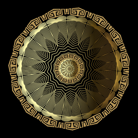 Gold 3d floral greek vector mandala pattern. Ornamental geometric background. Textured greek key meanders ornament with zigzag radial lines, shapes, flowers, circles. Surface elegance ornate design.