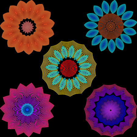 Illuminated colorful flowers pattern set. Neon blurred line art tracery abstract flowers. Floral background with geometric shapes, radial lines, halftone. Blurred flowery design. Vector illustration