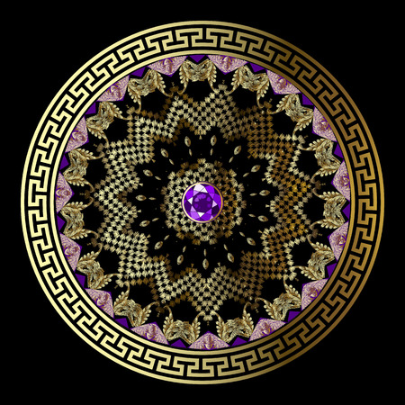 Jewelry floral round greek grunge mandala pattern. Ornate embroidery flowers with violet gemstone. Greek key meanders ornament. Geometric tapestry shapes, lines. Luxury decorative vector background