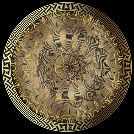 Gold lacy greek vector 3d mandala pattern. Round lace floral background. Vintage baroque style design. Golden flowers, leaves, geometric shapes, lines. Textured ornate greek key meanders ornament. Illustration
