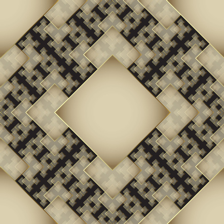 Ornamental geometric gold and black 3d vector seamless pattern. Modern elegant abstract background. Tiled rhombus, squares, shapes, lines. Patterned repeat backdrop. Beautiful ornate creative ornament