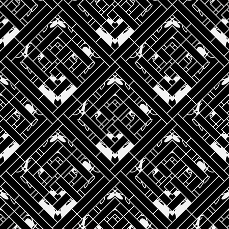 Geometric striped ornamental vector seamless pattern. Ornamental black and white abstract geometrical background. Elegant repeat decorative tribal style backdrop. Tiled patterned rhombus, stripes