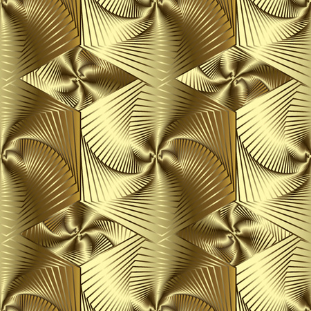 Gold 3d line art geometric vector seamless pattern. Golden surface textured striped background. Repeat drapery geometry backdrop with abstract shapes, lines, hexagram, rhombus, stripes. Modern design