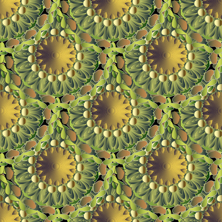 Green floral 3d vector seamless mandalas pattern. Leafy ornamental surface background. Textured repeat decorative tiled backdrop. Round flowery ornaments with flowers, leaves. Endless ornate texture