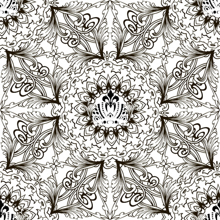 Baroque black and white vintage vector seamless pattern. Ornamental floral background. Antique baroque ornament in Victorian style. Royal crown. Scroll leaves, flowers. Mandala. Geometric design Ilustrace