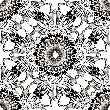 Royal Baroque vector seamless pattern. Black and white vintage floral background. Antique mandala. Luxury ornamental repeat backdrop. Isolated ornate design. Beautiful flowers, leaves, crowns ornament