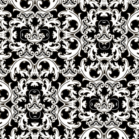 Baroque seamless pattern. Vector ornamental Damask background. Antique floral baroque ornaments in Victorian style. Vintage flowers, scroll leaves. Decorative repeat backdrop. Patterned ornate design