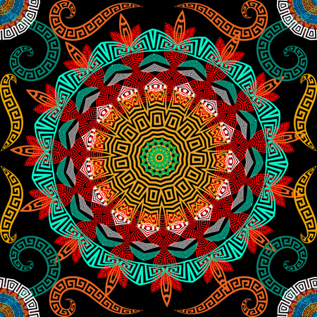 Greek colorful floral seamless mandalas pattern. Vector ornamental ethnic style background. Round lace mandalas with flowers and ancient greek key meanders ornament. Repeat beautiful bright backdrop. Stock Illustratie