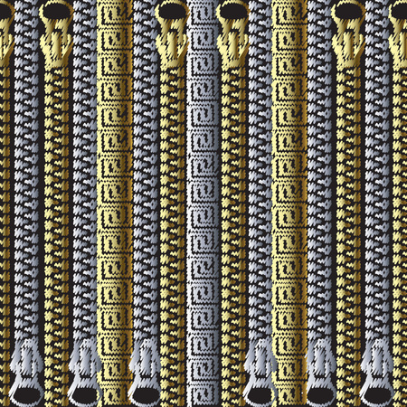 Striped embroidery 3d zippers vector seamless pattern. Tapestry decorative gold silver greek key meanders ornament. Textured grunge geometric background. Vertical closed embroidered fasteners, borders Çizim