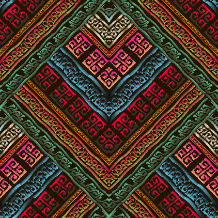 Embroidery colorful 3d geometric vector seamless pattern. Greek key meander grunge background. Abstract tapestry ethnic style design. Modern embroidered greek ornament. Textured striped bright design Illusztráció