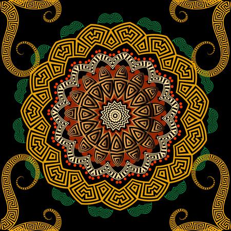 Greek colorful vector seamless mandala pattern. Greek key meanders circle ornament with geometric shapes, swirls, flowers, dots. Decorative mandala background. Ethnic tribal style ornate repeat design