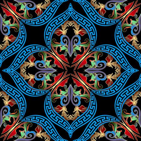 Baroque Damask colorful vector seamless pattern. Ancient greek key meanders ornament. Vector ornamental vintage background. Ornate decorative repeat backdrop. Antique baroque arabesque style design. Illustration