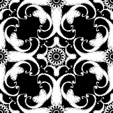 Black and white embroidery Paisley seamless pattern. Tapestry floral ornamental background. Ornate ethnic style hand drawn grunge flowers, leaves, swirls. Vintage embroidered repeat textured design