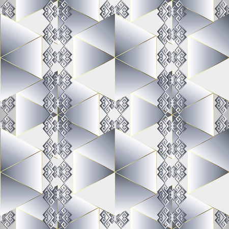 Light abstract geometric ethnic style greek seamless pattern. Vector ornamental tribal white background. Repeat patterned geometry backdrop. Geek key ornament with meander borders, triangles, shapes. Vettoriali