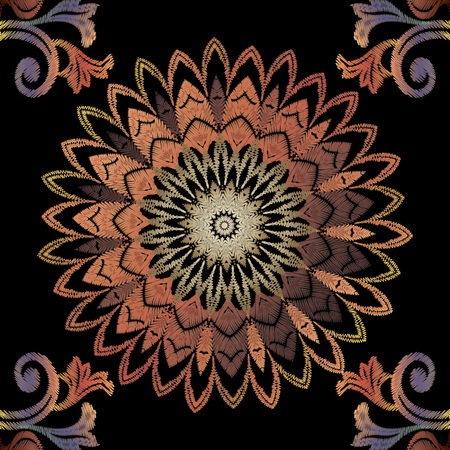 Embroidery Baroque seamless mandala pattern. Vintage vector background. Abstract grunge wallpaper. Floral tapestry ornaments with embroidered baroque flowers, scroll leaves. Ornate stitching texture