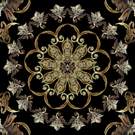 Tapestry textured floral Baroque seamless mandala pattern. Luxury round vintage ornament. Antique Victorian style background. Decorative repeat ornate backdrop. Old grunge embroidered flowers, leaves Illusztráció