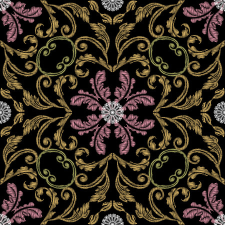 Embroidery baroque vector seamless pattern. Colorful floral grunge background. Tapestry wallpaper. Arras damask flowers, scroll branches, leaves, hatching baroque ornaments. Embroidered texture.