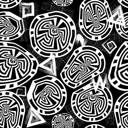 Grunge black and white geometric greek vector seamless pattern. Ornamental geometrical monochrome background. Grungy repeat backdrop. Doodle shapes, lines, triangles, squares. Greek key meanders.