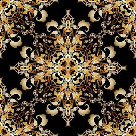 Vintage gold Baroque vector seamless pattern. Greek ornamental old style floral background. Damask repeat ornate backdrop. Antique baroque Victorian style ornament with greek key meanders design
