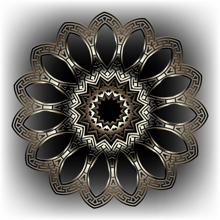 Greek key meanders round 3d floral mandala pattern. Ornamental grecian style background. Modern geometric abstract ornate backdrop. Ancient decorative ornament. Surface textured 3d flower design