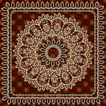 Vintage floral round mandala seamless pattern. Surface textured ornamental dark red background. Gold ornate flower. Stitching. Braided stitch square frames. Beautiful elegance ethnic style ornament