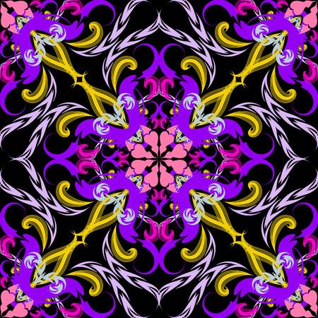 Floral colorful vintage vector seamless pattern. Damask ornament. Arabesque style ornamental background. Elegance multicolor decorative paisley flowers, leaves, lines, curves, shapes. Ornate design