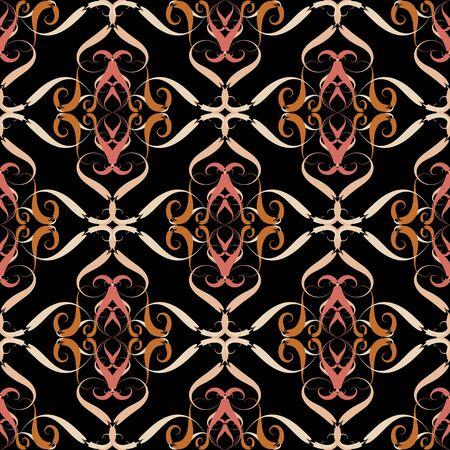 Vintage floral vector seamless pattern.  Damask line art ornament. Elegance flowery decorative background. Hand drawn elegance flowers, leaves, lines, shapes, curves. Ornate endless texture Ilustração
