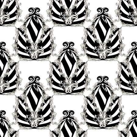 Striped black and white abstract floral vector seamless pattern. Baroque style flowers, leaves. Ornamental modern background. White background with black vintage flowers with stripes, lines, shapes. 向量圖像
