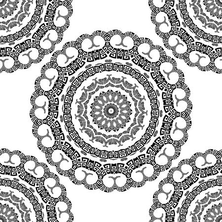 Greek vector black and white seamless  mandala pattern. Ornamental  background with paisley flowers. Geometric shapes, circles. Vintage flowers, leaves. Greek key meanders floral mandala ornaments