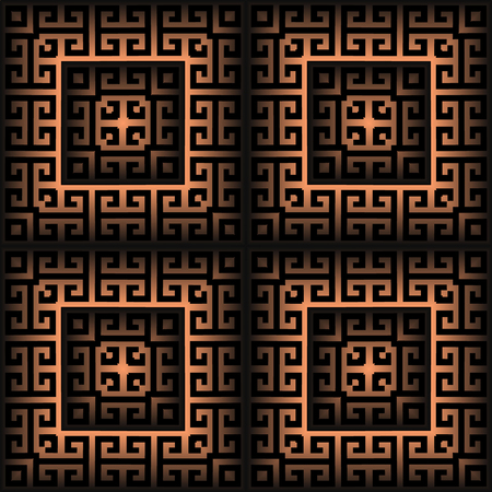 Surface checkered greek 3d vector seamless pattern. Geometric squares background. Tile greek key meanders maze ornament. Textured ornate abstract design with shadows. Modern luxury endless texture.