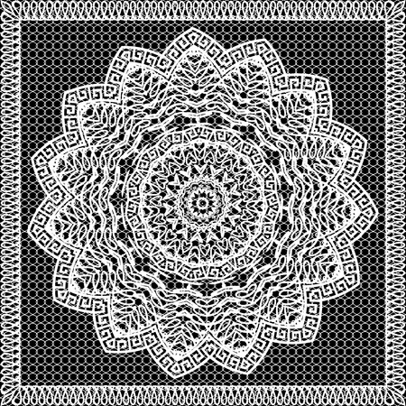 Round ornamental lace greek mandala seamless pattern. Grid lacy background. Black and white ornate monochrome design. Ancient greek key meanders square frame, circle flower. Decorative lacy ornament