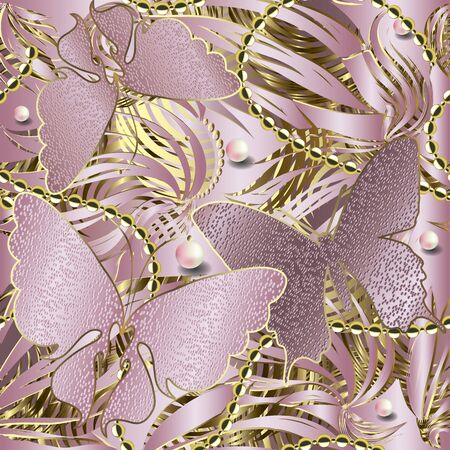 3d glittery butterflies seamless pattern. Abstract textured rose gold background. Repeat striped backdrop. Floral jewelry shiny ornament. Stripes, pearls, beads,  flowers, butterflies. Ornate design Stock Illustratie