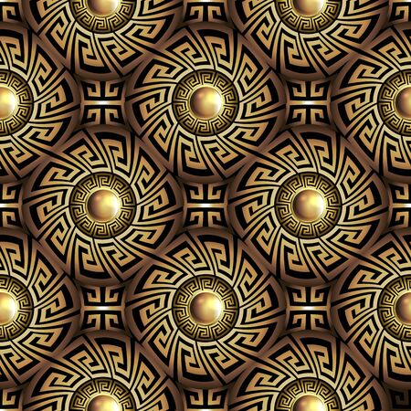 3d Greek key meander gold seamless pattern. Vector abstract geometric background. Vintage ancient greek ornamental frames with circles, mandalas. Surface texture. Jewelry ornament. Luxury 3d wallpaper