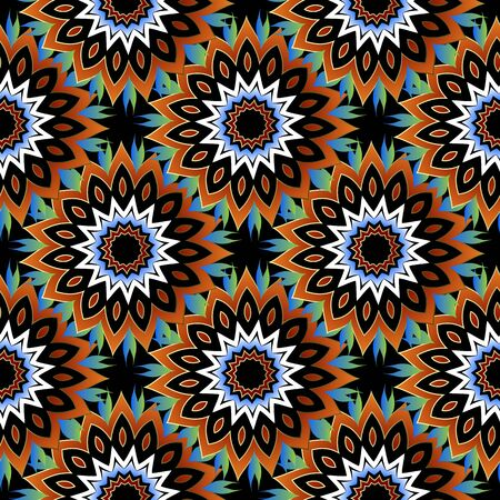 Floral colorful seamless pattern. Decorative ornamental vector background. Ethnic style bright abstract flowers ornament. Repeat flourish backdrop. Endless ornate texture. Flowery modern design