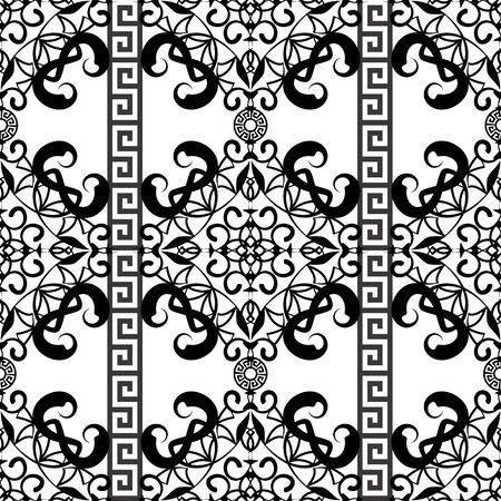 Damask black and white vintage vector seamless pattern. Ethnic greek style ornamental background. Hand drawn floral arabesque ornament. Greek key, meanders, lines, curves, flowers, swirls, borders.