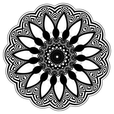 Greek floral black and white round mandala pattern. Ornamental background. Vector vintage design. Geometric shapes, circles, waves, . Abstract flower, lines. Greek key meanders mandala ornament