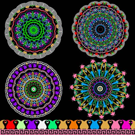 Colorful floral ethnic Paisley mandala patterns. Bright vector mandalas and border set. Greek key meander ornament. Abstract round flowers, leaves, shapes, lines, circles. Ornamental ornate design