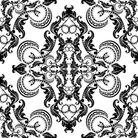 Baroque seamless pattern. Vector black and white vintage background. Repeat isolated design on white. Modern floral ornament in baroque style. Greek key meanders elements. Endless texture. Template. Ilustração