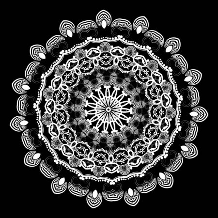 Greek vector black and white round mandala pattern. Ornamental background. Floral vintage design. Geometric shapes, circles, waves, dots. Beautiful flowers, lines. Greek key meanders mandala ornament