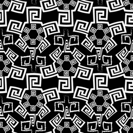 Tribal black and white greek vector seamless pattern. Ornamental ethnic background. Repeat abstract backdrop. Doodle chalk greek key meanders ornament. Beautiful decorative design for fabric, prints