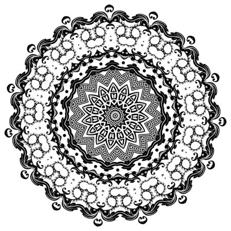Greek vector black and white round mandala pattern. Ornamental background with floral Baroque frame. Geometric shapes, circles, waves. Vintage flowers, leaves. Greek key meanders mandala ornament