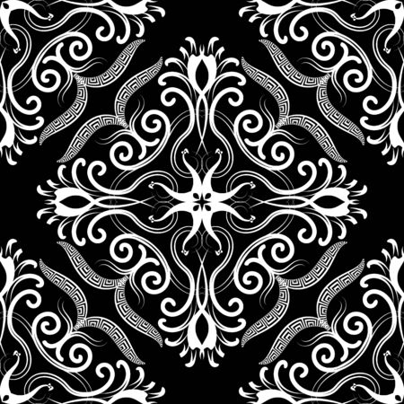 Damask black and white vintage vector seamless pattern. Ethnic greek style ornamental background. Hand drawn floral ornate arabesque ornament. Greek key, meanders, lines, curves, flowers, swirls.
