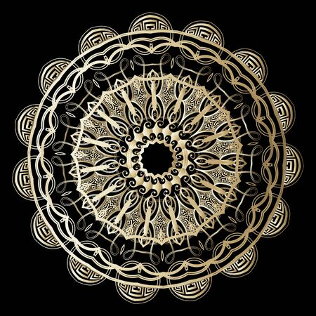 Gold textured greek vector mandala pattern. Luxury greek key meanders ornament. Ornate decorative background. Beautiful round trendy mandala design. Vintage floral ornamental design. Surface texture.