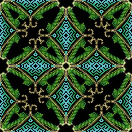 Luxury green 3d modern seamless pattern. Greek ornamental arabesque ethnic style background. Vintage floral repeat backdrop. Textured beautiful greek key meanders ornament with flowers, swirls, shapes Ilustração
