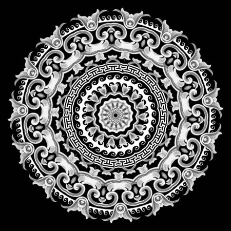 Black and white round Baroque vector mandala pattern. Ancient ornamental abstract background. Geometric shapes and flowers. Decorative ornate design in Baroque style. Greek key meander floral ornament