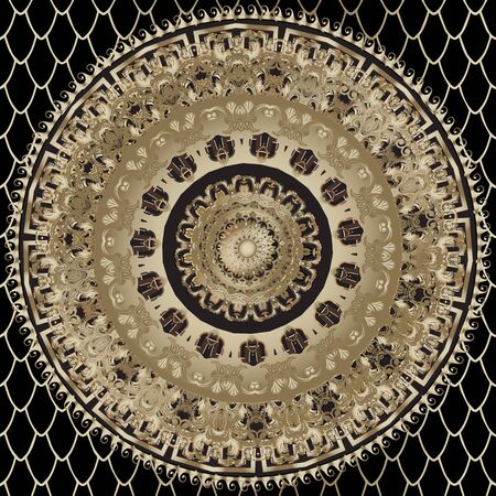 Gold luxury vintage mandala seamless pattern. Lace ornamental background. Greek key meanders ancient ornament. Baroque style flowers, leaves. Ornate textured modern design. Elegance patterned texture