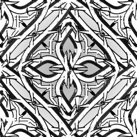 Textured grunge Celtic vector seamless pattern. Embroidery ornamental intricate background. Hand drawn tapestry knots ornament. Intricacy branches with thorns. Prickly. Black and white endless texture  イラスト・ベクター素材